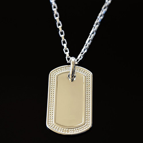 Ladies Sterling Silver Patterned Dog Tag Pendant