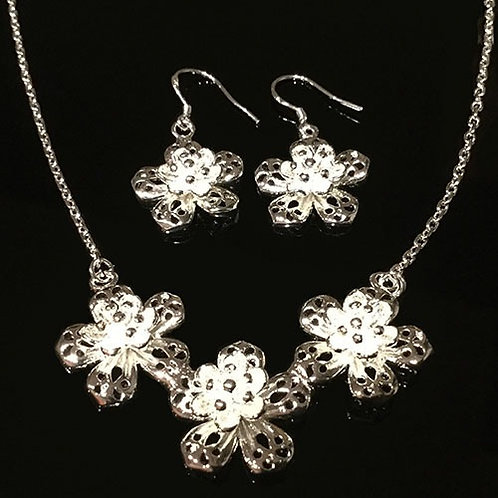Sterling Silver Flower Necklet and Earring Set
