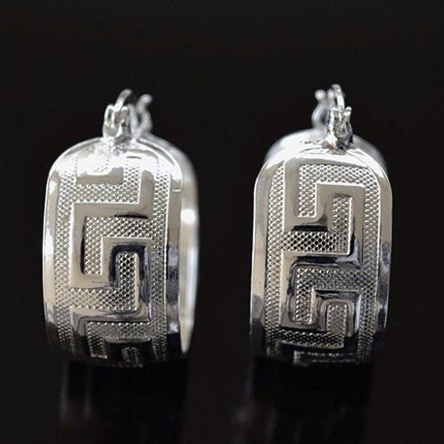 Sterling Silver Geometric Hoop Earrings