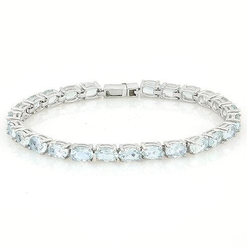 Sterling Silver Aquamarine Tennis Bracelet
