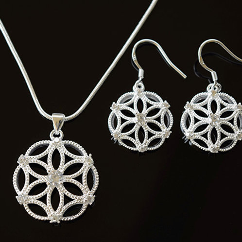 Sterling Silver CZ Pendant and Earring Set