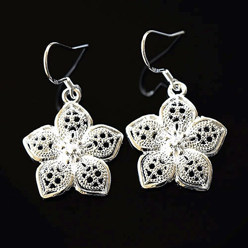 Sterling Silver Filigree Flower Earrings