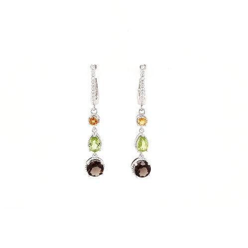 Sterling Silver Citrine, Peridot and Smoky Quartz Drop Earrings