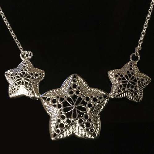 Sterling Silver Triple Star Necklet
