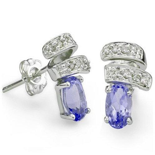 Sterling Silver 0.80 ct Tanzanite Stud Earrings