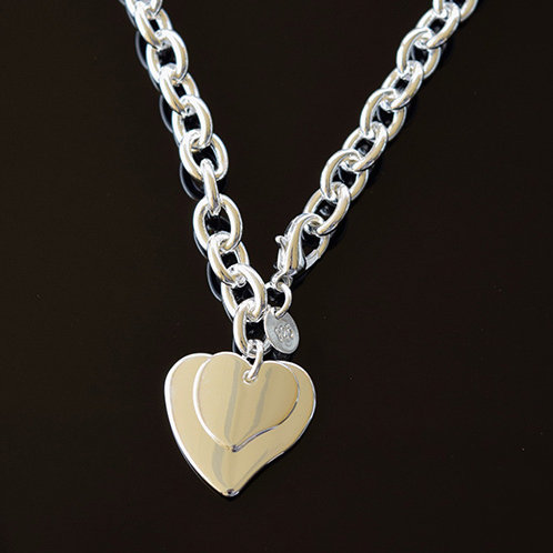 Sterling Silver Double Heart Fob Bracelet and Chain Set