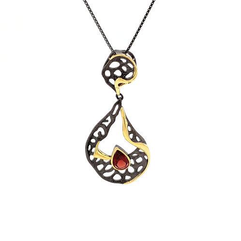 Sterling Silver Garnet Lotus Pendant