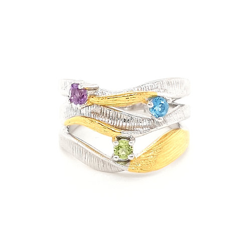 Sterling Silver Two Tone Multi Gemstone Ring