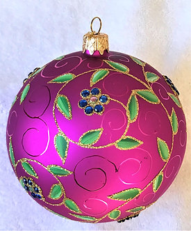 "#705RSP - Thomas Glenn ""Leaves on Raspberry"" Ball Ornament"