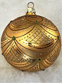 "#632GD-GR - Thomas Glenn ""Aurora Gold & Green Crystals"" Ball Christmas Ornament"
