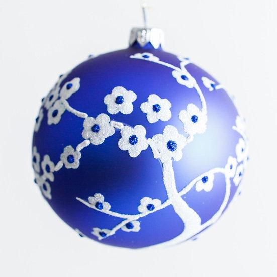 "#1963 - Thomas Glenn ""Blossoms in Blue and White"" Ball Ornament"