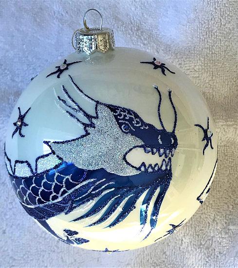"#1865 - Thomas Glenn ""Blue and White Dragon"" Ball Ornament"