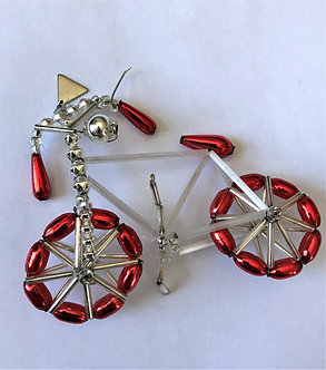 "Czech Glass ""Bicycle"" Beaded Christmas Ornament"