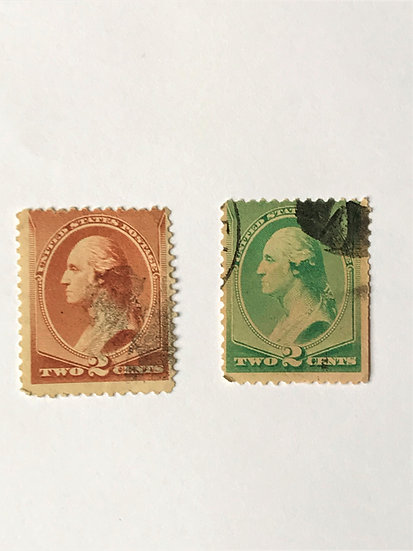 """Stamps """"US Washington 1883 & 1887 Issues"""" Scott #210 red brown & #213 green"""