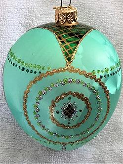 "#366 - Thomas Glenn ""Egg - Seafoam Green"" Faberge Egg Christmas Ornament"
