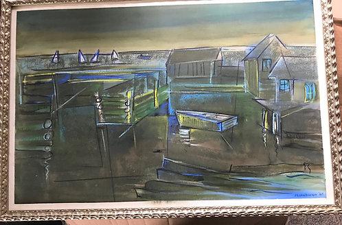"Painting ""Stonebarger 1964"" Harbor Scene, Oil On Board, Signed"