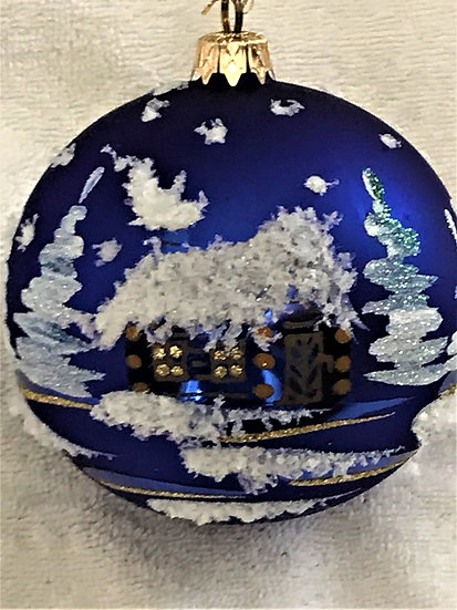"#710 - Thomas Glenn ""Blue Cottage"" Ball Christmas Ornament"