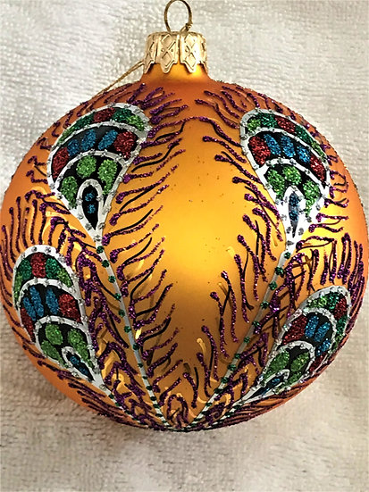 "#605GD - Thomas Glenn ""Peacock - Gold"" Ball Christmas Ornament"