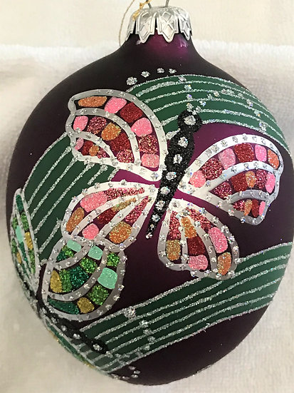 "#22 - Thomas Glenn ""Diamond Butterfly"" Egg Christmas Ornament"