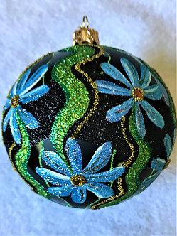 "#625BLK - Thomas Glenn ""Blue Flowers on Black"" Ball Christmas Ornament"