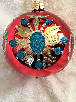 """#126 - Thomas Glenn """"Red with Turquoise Flower"""" Ball Christmas Ornament"""