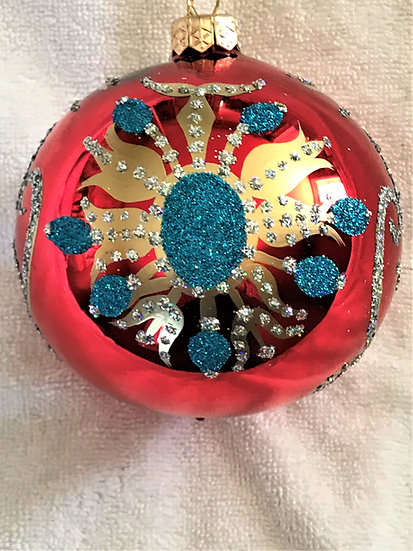 "#126 - Thomas Glenn ""Red with Turquoise Flower"" Ball Christmas Ornament"