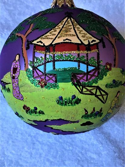 "#745 - Thomas Glenn ""Chinois on Purple"" Ball Christmas Ornament"