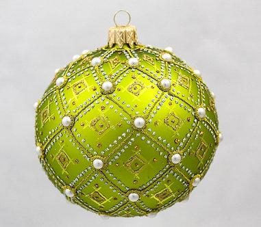 "#634L - Thomas Glenn ""Lime Pearl"" Ornament"