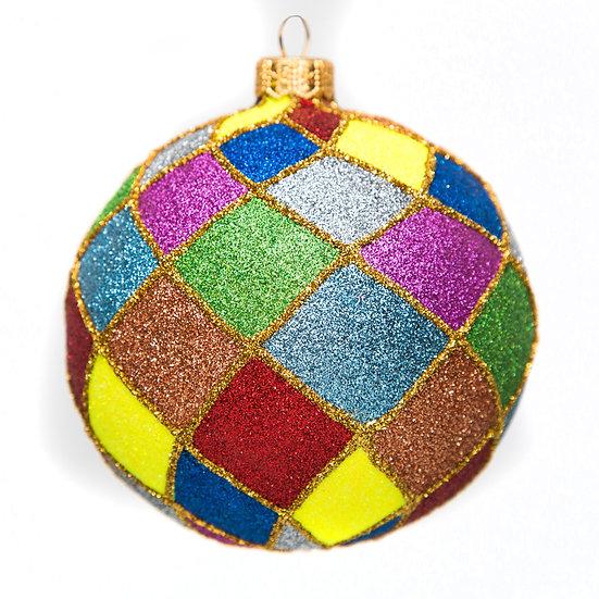 "#775 - Thomas Glenn ""Rainbow Harlequin"" Ball Ornament"