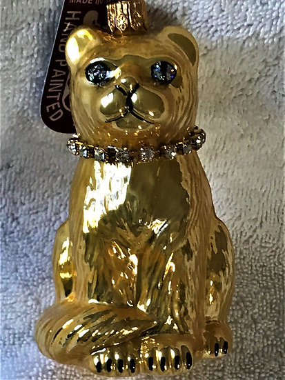 "Thomas Glenn ""Cat - Gold"" Molded Christmas Ornament"