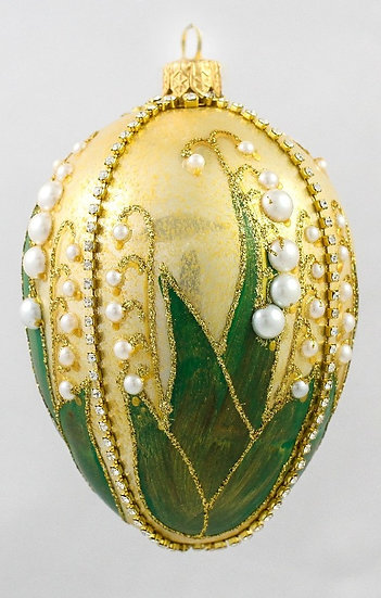 "#319 - Thomas Glenn ""Lily of the Valley Gold"" Faberge Egg Ornament"