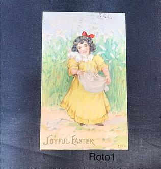 Vintage Easter Postcard - Girl with Rabbits