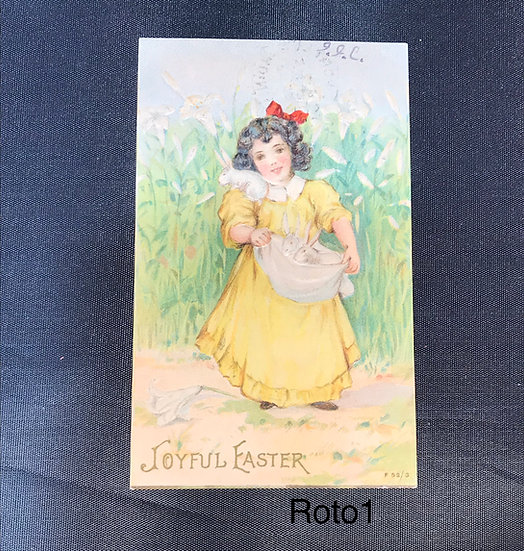 Vintage Easter Postcard - Girl with Rabbits