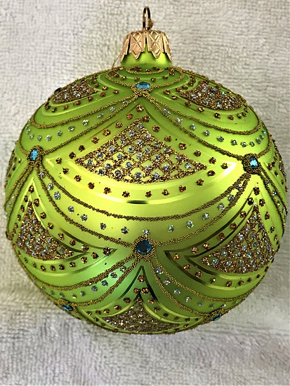 "#632L - Thomas Glenn ""Aurora Lime & Blue Crystals"" Ball Christmas Ornament"