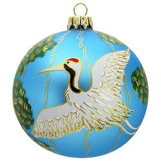"#505LB - Thomas Glenn ""Crane on Light Blue Ball"" Ornament"