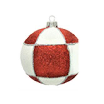 "#536R - Thomas Glenn ""Check - Red and White"" Ball Ornament"