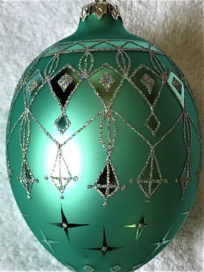 "#117 - Thomas Glenn ""Green Egg"" Faberge Egg Christmas Ornament"