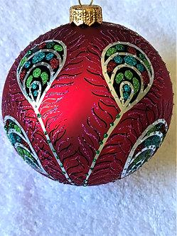 "#605R - Thomas Glenn ""Peacock - Red"" Ball Christmas Ornament"