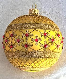 """#635Y - Thomas Glenn """"Yellow Coronation"""" Ball Ornament"""