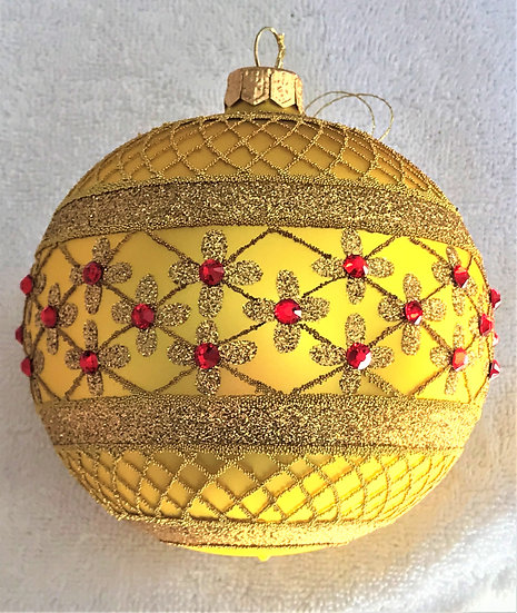 "#635Y - Thomas Glenn ""Yellow Coronation"" Ball Ornament"