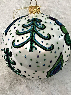 """#1743B-G - Thomas Glenn """"Tree Lot - Blue& Green"""" Ball Christmas Ornament"""