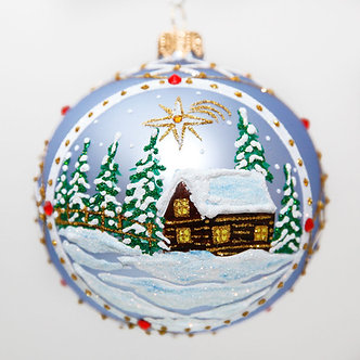 "#2021 - Thomas Glenn ""Cabin In The Woods"" Ball Christmas Ornament"