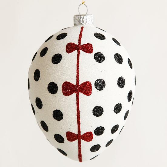 """#1878 - Thomas Glenn """"Red Bow Egg"""" Egg Ornament"""