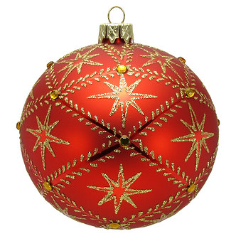 "#716R - Thomas Glenn ""Stars on Red"" Ball Ornament"