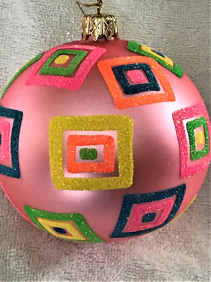 "#750 - Thomas Glenn ""Multi Squares on Hot Pink"" Ball Christmas Ornament"
