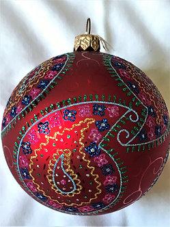 "#27-07R - Thomas Glenn ""Paisley on Red"" Ball Christmas Ornament"