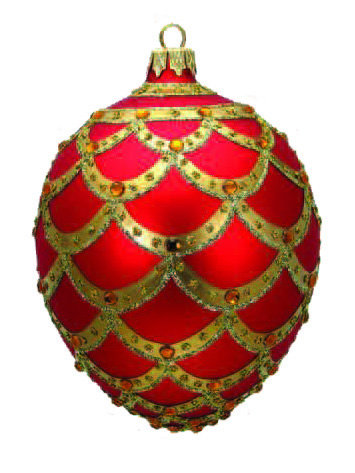 "#704R - Thomas Glenn ""Red Pinecone"" Faberge Egg Ornament"