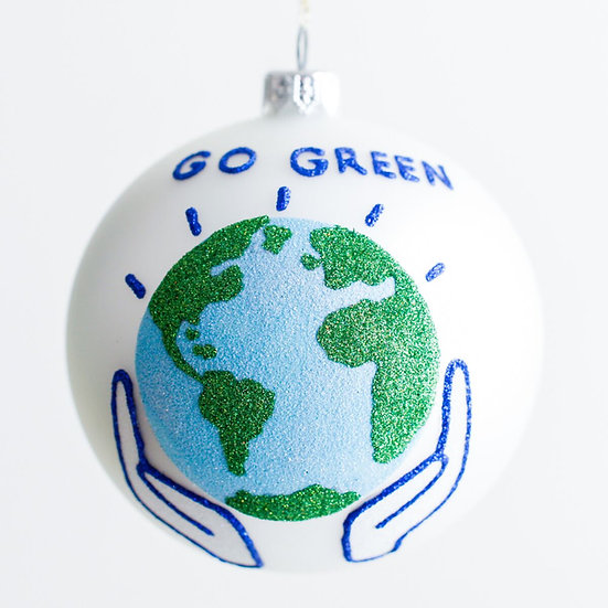 "#1914 - Thomas Glenn ""Go Green"" Ball Ornament"