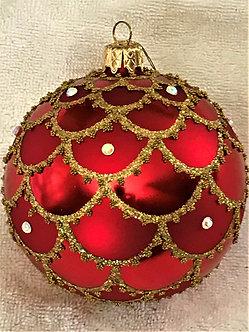 "#715R - Thomas Glenn ""Gold Swag on Red"" Ball Christmas Ornament"