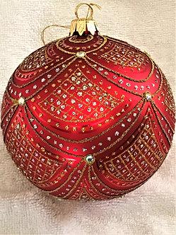 """#632R - Thomas Glenn """"Aurora - Red"""" Ball Christmas Ornament"""